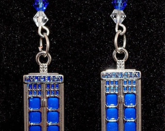 Doctor Who Police Box Earrings - Geeky Jewelry - Enamel - Tardis - Geeky Earrings - Fandom - Blue - Timelord - Crystal - Gift for Her