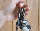 sloth Handmade needle felted  sloth keychain made to order,wool sloth accesories, sloth  keychain accessorize, hang on bags backpack or car
