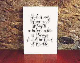 Psalm 46:1 God is our Refuge and Strength - Bible - Wisdom Christian - Calligraphy - Printable Wall Art - Instant download - Digital Art -