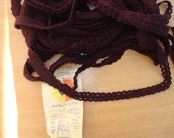 Brown Crochet Lace Ribbon, Crochet Braids Lace, Brown Cotton Lace Trim, Narrow Trim, Craft Supplies, Dress Making Supply, Knit Cotton Ribbon