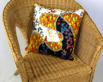 Butterfly Print Quilted Cushion
