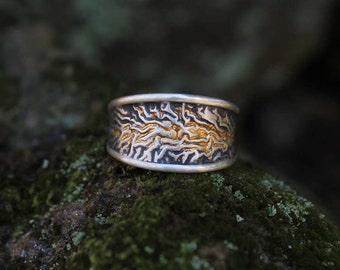 Sterling silver and 24k pure gold ring * Rustic, oxidized, keum boo, reticulated, signet ring