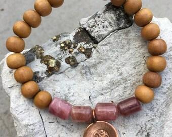 Bracelet // Sandalwood, Pink Tourmaline, Karen Hill Tribe Copper // Stretch Wrist Mala