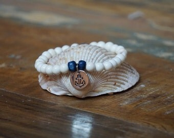 White and blue anchor beaded bracelet part of the new seaside collection.