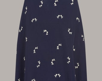 40's Vintage Style 'Circle' Skirt in Navy Doggy