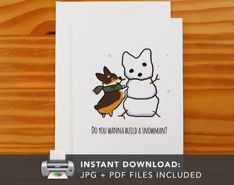 PRINTABLE Tricolor Corgi Snowman Greeting Card | Printable Holiday Cards | Winter Snowflake Christmas Cards | Instant Download JPG PDF