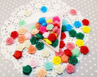 25pc Small Flower Assorted Color 13mm Resin Kawaii Beads Jewelry Beading Decoden Craft DIY