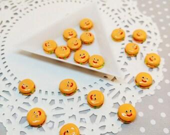 6pc Mini Happy Hamburger 11mm Kawaii Resin Fake Food Flatback Cabochon Scrapbook Decoden Craft DIY