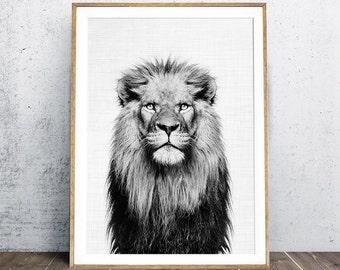 Lion Print, Animal Nursery Print, Nice Lion,  Baby Animal Portraits, Lion Poster, Black And White Photography, Animal Portrait, Digital