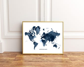 World map print, Navy Blue World Map, World Map, World Map Wall Art, World Map Poster, Map Decor, Printable Map
