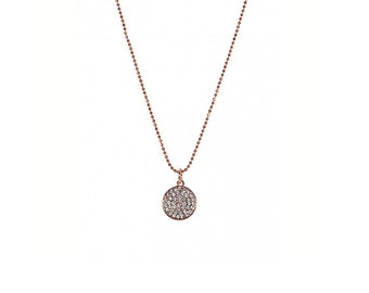 Lisa Freede Pave Crystal Disc Necklace - rose gold or gunmetal, hand set crystals, featured in Instyle Magazine, celebrity favorite