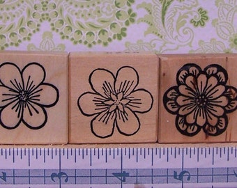 Flower Blossoms - Set of 6 - CC Rubber Stamps - Spring Garden - Card Making