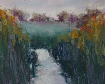"Original pastel mini painting ""Through the Bulrushes"""