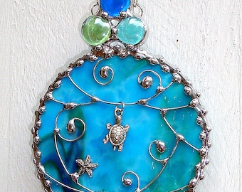 Turtle Starfish Stained Glass Suncatcher Ornament with Wire Work and Decorative Solder
