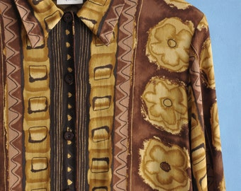 Vintage 90s blouse, brown and yellow blouse, 90s rustic shirt, womens abstract print top