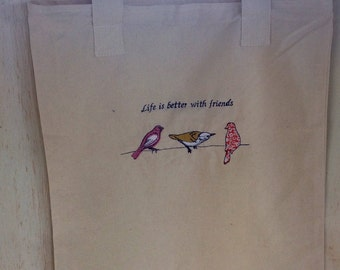 Bird themed canvas zippered tote bag with bird embroidery - Life is better with friends - FREE SHIPPING