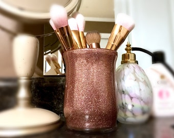 Rose Gold Makeup brush holders - Luxury Glitter Makeup Jars Contemporary Chic bathroom decor dorm vanity Cosmetic Organizer Bridesmaid Gifts