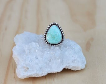 Turquoise Ring // Sterling Silver // Size 7 // Pilot Mountain Turquoise