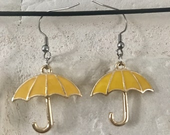 How I Meet Your Mother Inspired Earrings Stainless Steel, Yellow Umbrella Or Blue Horn Charms