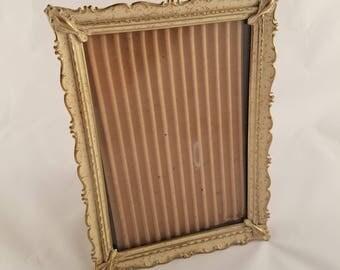 Vintage Metal Ornate Frame - Ivory/Gold Speckled