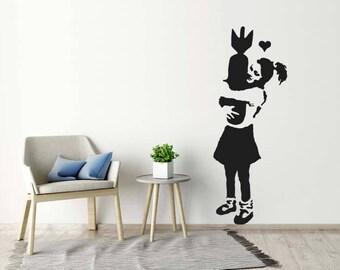 Banksy Wall Sticker - Learn To Love