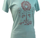 Butterfly Wing Skull Bones Flower Graphic Tee, Gifts for Women, Womens Screen Print Cotton Tshirt