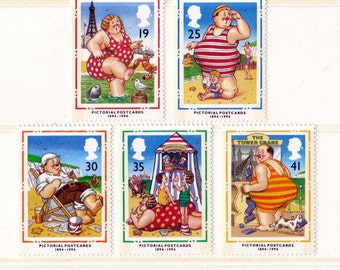 1994 Pictorial Postcards Mint Unused Vintage Postage Stamps set; beach hut, seaside, stripy swimsuit, day out at the beach, coast, swimming