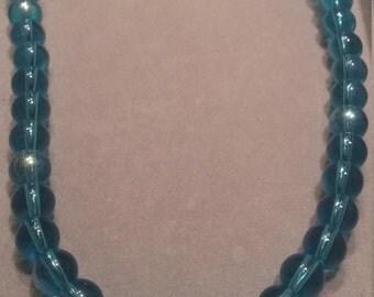 Aqua Glass Beaded Necklace