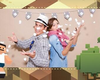 Minecraft Photobooth Frame Overlay, Invitation Design — Digital Print
