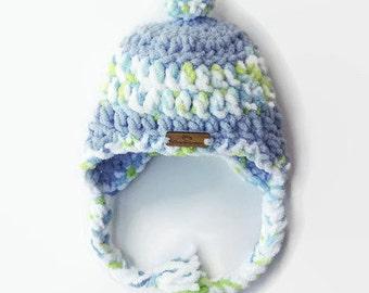 Crochet Baby Hat - Trapper Hat - Crochet Hat - Baby boy Hat - Toddler Hat - Baby Blue Hat - Baby Shower gift - Winter Hat - bulky Hat