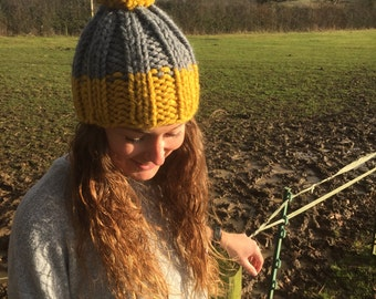 Handmade Wool Beanie With Bobble - The Beda