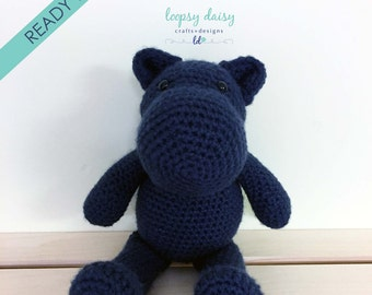 Hippo Stuffed Animal | Crochet Stuffed Animal | Hippo Plush | Navy Blue Hippo | Birthday Gift | Stuffed Hippo | Nursery Decor | Decor