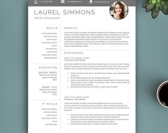 Creative Resume Template for Word and Pages, 1,2,3 Pages Template, Professional Resume Template, Resume With Photo, Photo CV Template