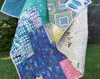 READY TO SHIP | Dreamer quilt | plus sign | cross | eclectic | newspaper | lap size | throw