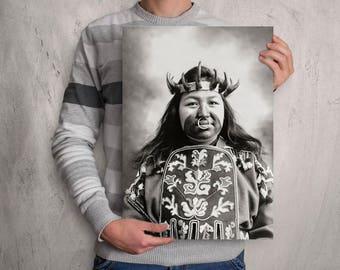 Native American Indian Photograph, Kaw-Claa, Indigenous Alaskan Thlinget wearing Potlatch dancing costume, Portrait, Tribal