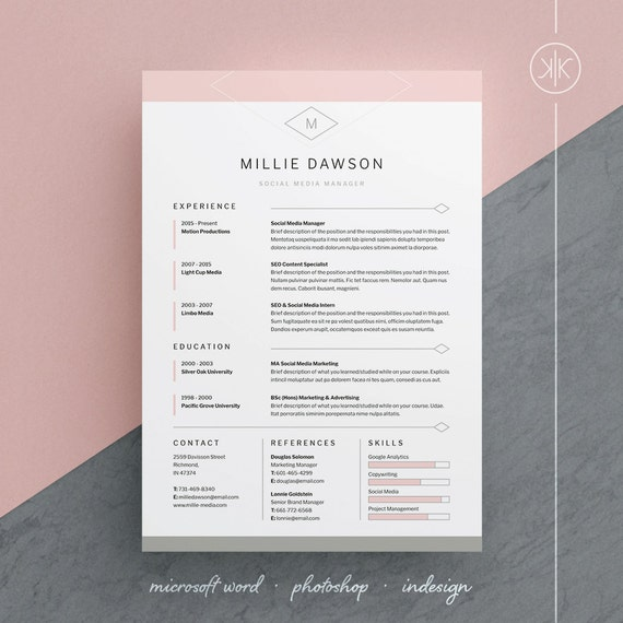 Millie Resume/CV Template | Word | Photoshop | InDesign | Professional  Resume Design | Cover Letter | Instant Download