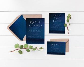 Midnight Stars Wedding Invitations, the Aurora Suite, Wedding Suite: Invite, Save the Date & RSVP, Printable Invite, Navy Wedding Invite