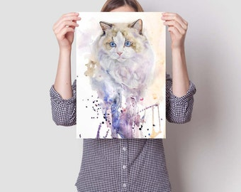 Watercolor Cat Art FREE SHIPPING