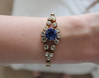 Gold Tone Blue White Czech Glass Rhinestone Bracelet