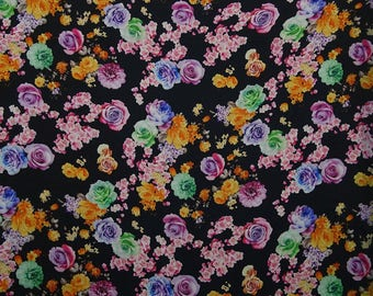"""Home Decor, Black Fabric, Sewing Material, Desiger Fabric, Floral Digital Print, 44"""" Inch Quilting Fabric By The Yard FSS244A"""