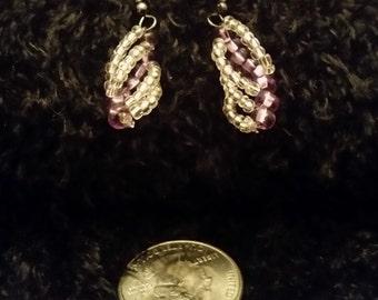 Purple Spiral Earrings - Hematite Hooks