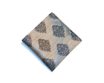 Damask Silk Pocket Square, Handmade Handkerchief, Chic Men's Accessory