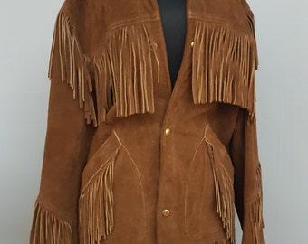 Vintage Buckskin brown leather coat with Fringe very Bohemian Hippie Jacket