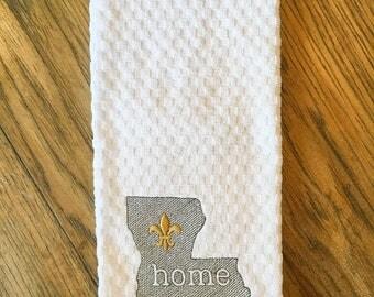 Louisiana Kitchen Towel, Fleur de lis Towel, Home Towel, State Towel