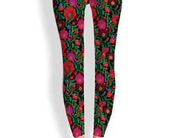 Yoga leggings-Mexican, Embroidery, Floral, hippie, festival, boho, art leggings, folk, folkloric