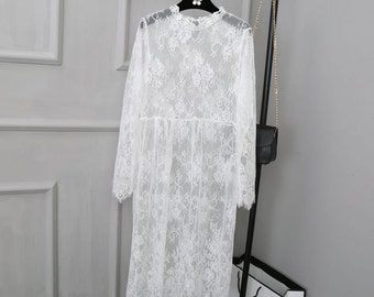 Soft Lace Dress White Transparent Beach