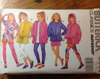 Butterick pattern 5604 for Girl's jacket, top, skirt, and leggings,  size 7,8,10