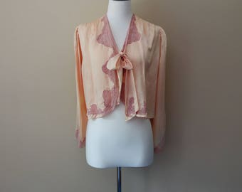 Vintage 1930s silk bed jacket with lace detail by Mollie Hodgett Lingerie