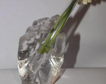 Flower vase hand single piece cast resin