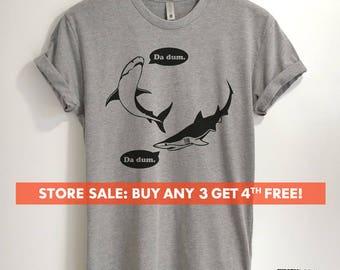 Da Dum Shark T-shirt, Ladies Unisex Crewneck Shirt, Vacation Shirt, Shark Shirts, Summer T-shirt